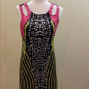 Marciano sequined beaded sleeveless cocktail dress